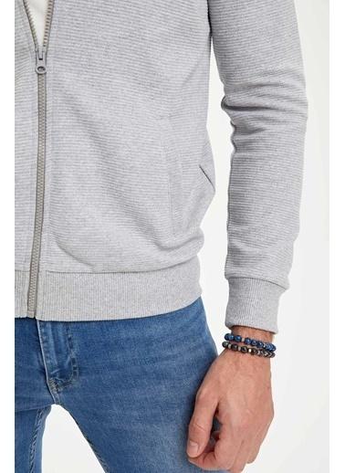 DeFacto Kapüşonlu Fermuarlı Regular Fit Sweatshirt Gri